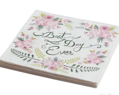 Servilletas de papel flores Best Day Ever