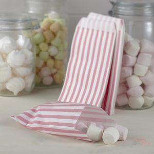 Bolsitas para recuerdos y golosinas, chuches rosa y blanca para mesas dulces wonder party bcn