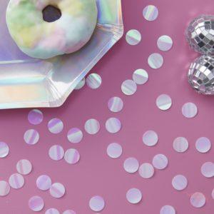 Confetti iridiscente tornasolado para mesafiestas bodas