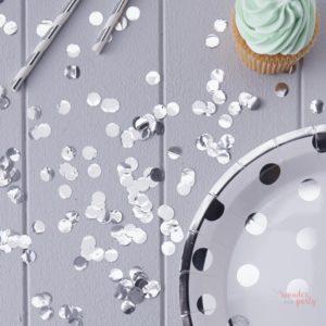 Confetti plateado metalizado