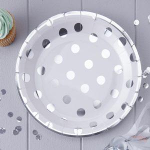 Platos de papel lunares plateados plata blanco para fiestas Decoracion de fiestas infantiles tematicas barcelona Wonder Party Bcn