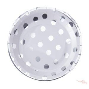 Platos de papel lunares plateados
