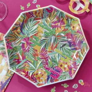Platos de papel tropical iridiscente para fiestas veraniegas fiestas flamencos Wonder PArty Barcelona organizacion de fiestas