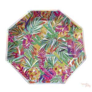 Platos de papel tropical iridiscente