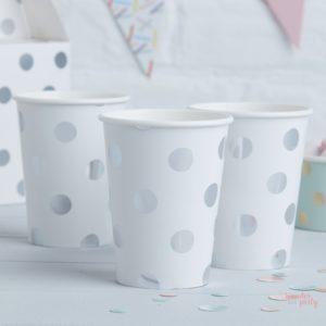 Vasos de papel lunares plateados para bebidas para fiestas Organizacion de fiestas wonder party barcelona