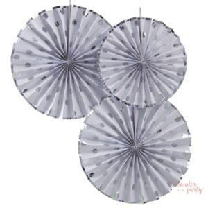 Set de 3 abanicos blancos con lunares plata para fiestas topos plateados. como organizar la fiesta de mis sueños