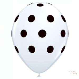 Globo blanco topos lunares negros