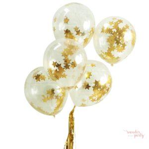 Globos transparentes con confetti estrellas doradas