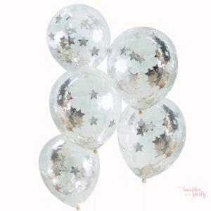Globos transparentes con confetti estrellas plateadas