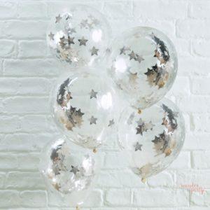 Globos transparentes con confetti estrellas plateadas para fiestas originales fiestas tematicas para niños y adultos en bareclona Wonder Party Bcn