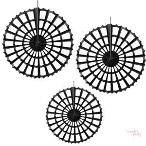 Set de 3 abanicos tela de araña negros