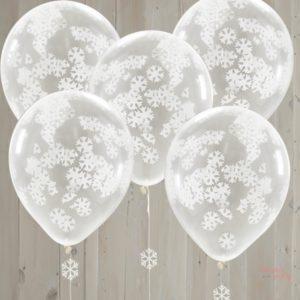 Globos transparentes con confetti copos de nievelátex para decoraciones navideñas o fiestas tematicas barcelona wonder party bcn