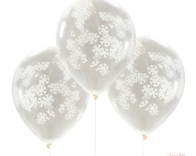 Globos transparentes con confetti copos de nieve