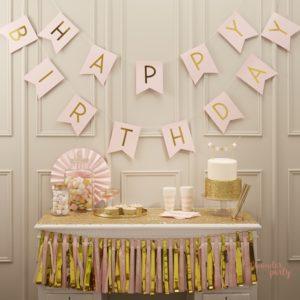 Guirnalda Happy Birthday rosa y doradopara fiestas banderín Feliz cumpleaños fiestas tematicas barcelona girona