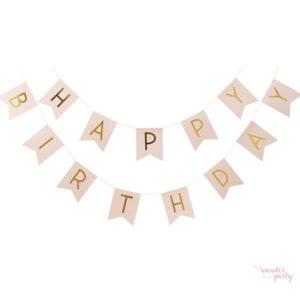Guirnalda Happy Birthday rosa y dorado